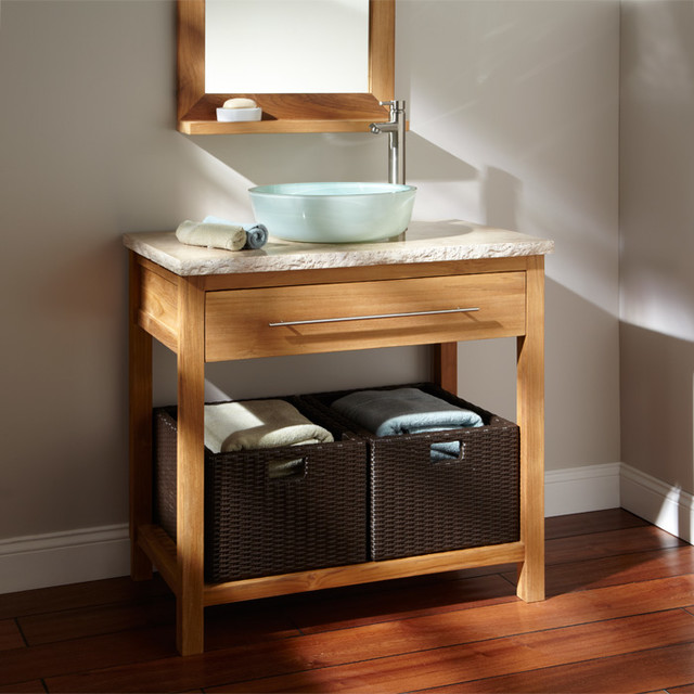 Durable chic teak contemporary bathroom vanities and for Console bathroom vanity