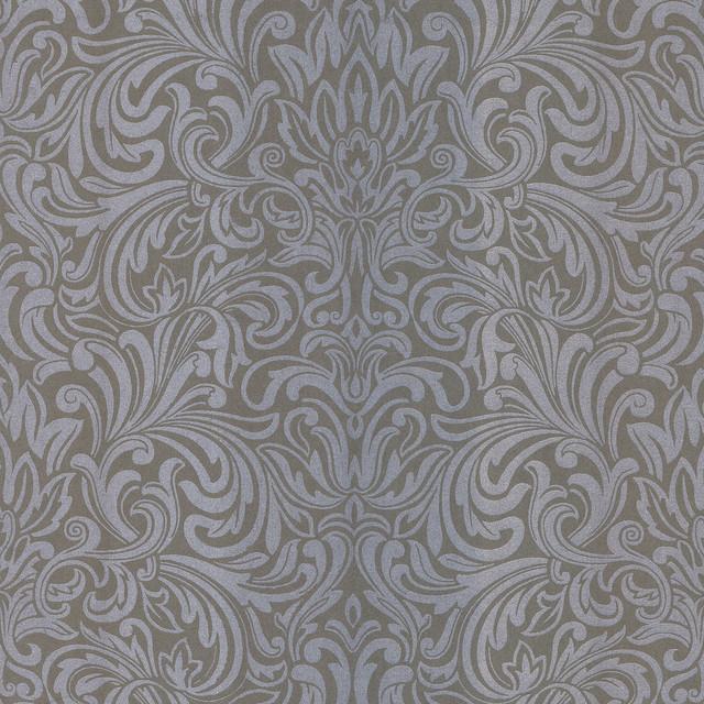 Salon wavy damask wallpaper traditional wallpaper by for Salon wallpaper