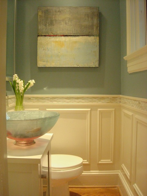 Elegant Powder Room Remodel Transitional Powder Room