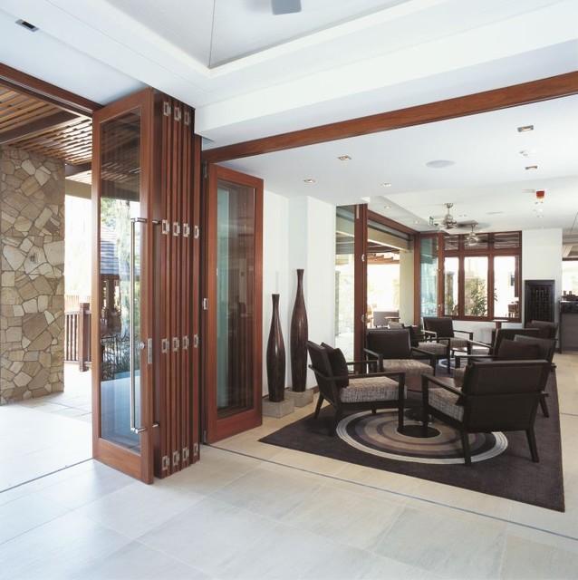 Folding doors contemporary interior doors minneapolis by conservatory craftsmen - Accordion wood doors interior ...