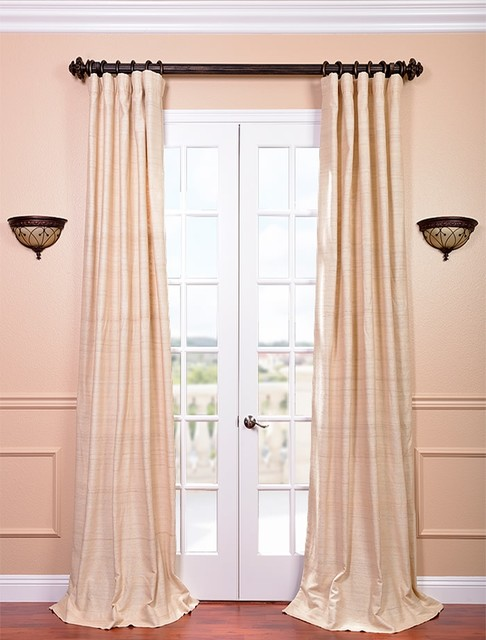 Cancun Sand Raw Silk Curtain contemporary-curtains