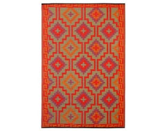 Tangiers Kelim Reversible Indoor/Outdoor Rug, Flame contemporary-outdoor-rugs