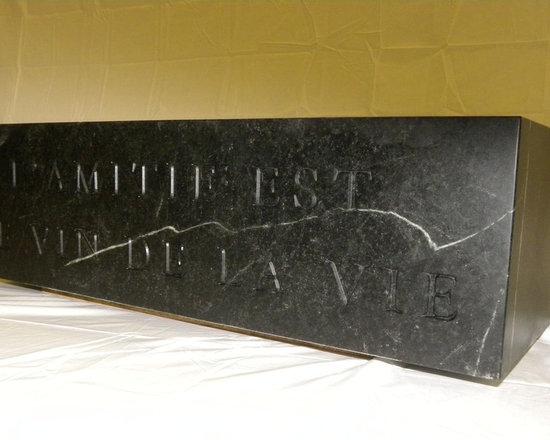 Soapstone Sinks - CNC engraved apron front Soapstone sink