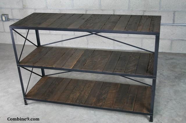 Vintage Industrial Shelving Unit. Steel/Reclaimed Wood. Mid Century/Industrial. rustic