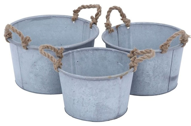Metal Planter in Antique Finish - Set of 3 traditional-indoor-pots-and-planters