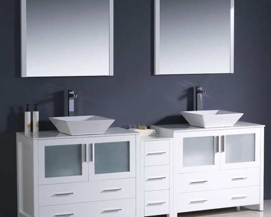 Fresca - Fresca Torino 84 White Modern Double Vanity w/ Cabinet & Vessel Sinks - Supplied with the side cabinet, the Torino 84 vanity from Fresca features a White finish and frosted glass panels. Great for adding style to both modern and traditional bathrooms, this vanity incorporates plenty of storage space for toiletries and beauty products. With a high quality construction to ensure long lasting durability, this vanity includes the ceramic vessel sinks, which add a touch of chic, contemporary style. Torino Bathroom Vanity Details:   Dimensions: Vanity: 83 1/2W x 18 1/8D x 35 5/8H, Side Cabinet: W 12 x D 17.75 x H 28.13 Material: Plywood with Veneer, ceramic vessel sinks Finish: White Please note: faucets not included