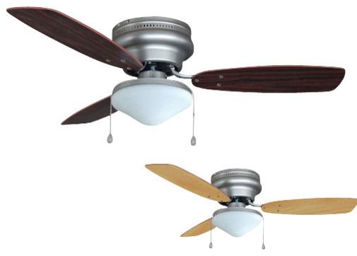 satin nickel 42 hugger ceiling fan w light kit. Black Bedroom Furniture Sets. Home Design Ideas