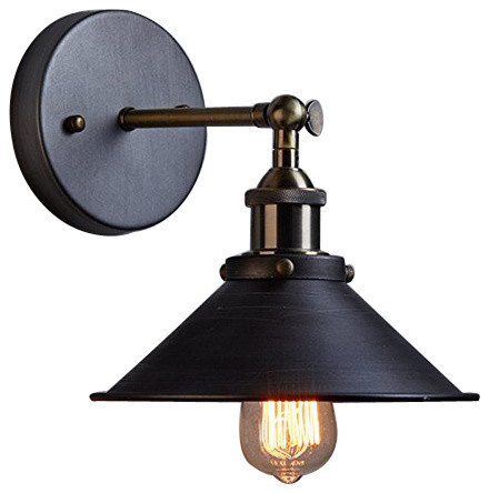 Industrial Lighting Wall Lights : Industrial Edison Simplicity 1 Light Wall Light Sconces Aged Steel Finish industrial-wall-sconces