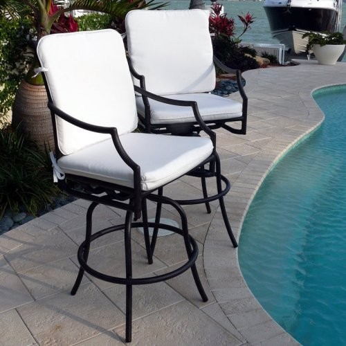 Comfort Care Cast Aluminum Outdoor 30 in. Barstool with Armrest - Set of 2 modern-outdoor-benches