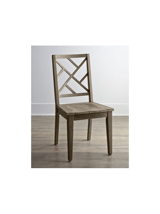 """Horchow - Two """"Karington"""" Ash Side Chairs - Imagine the possibilities—lattice-back chairs that mix and match with other pieces for casual dining at its best. Elegant enough for formal gatherings and durable enough for every day. Handcrafted of ash solids and quartered ash veneers. Finished..."""