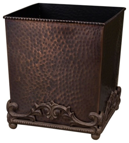The gg collection hammered wastebasket antique copper rustic wastebaskets by chelsea gifts - Copper wastebasket ...