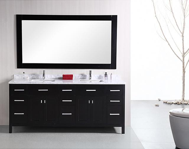 Design Element London 78-inch Modern Espresso Carrera Marble Double Bathroom Van contemporary-bathroom-vanities-and-sink-consoles