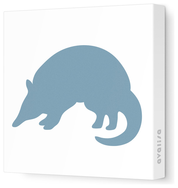 "Silhouette - Armadillo Stretched Wall Art, 12"" x 12"", Blue Gray contemporary-kids-wall-decor"