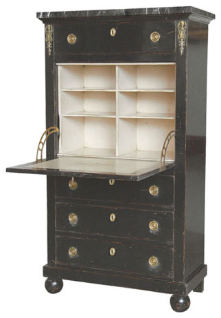 Empire Style Secretary Desk with Four Drawers in Black - Desks And