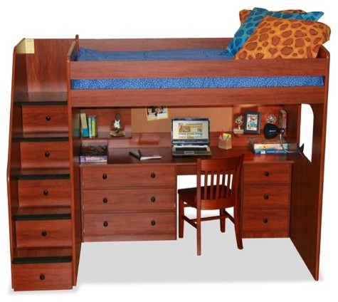 Utica full loft bed with desk and storage modern beds for Modern bunk bed with desk