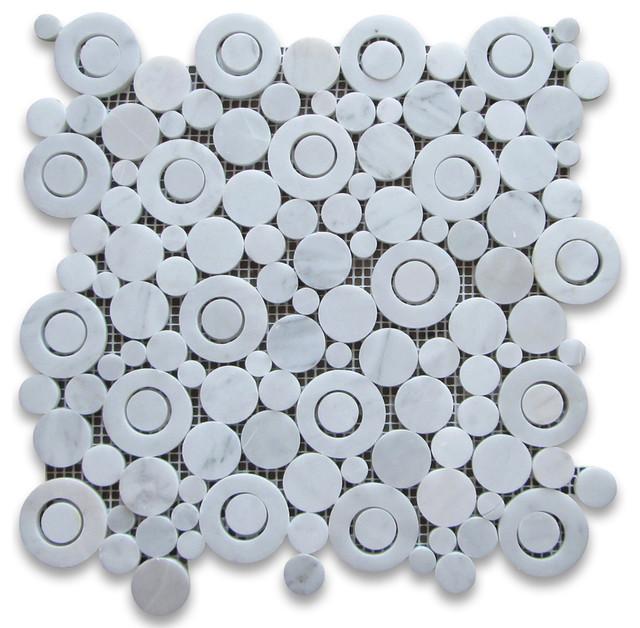 Carrara White Marble Circle Bubble Mosaic Tile Polished Bianco Carrera traditional-tile