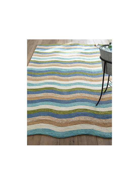"Horchow - ""Caribbean Waves"" Indoor/Outdoor Rug - With undulating waves of Coastal-inspired color, this rug calls to mind all we love about the beach—crystal-clear water; frothing waves; sandy dunes; waving sea grass. It adds tropical ambiance to indoor or outdoor living spaces. Made of polypro..."