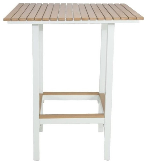 Riviera Square Bar Table White Contemporary Outdoor Pub And Bistro Table