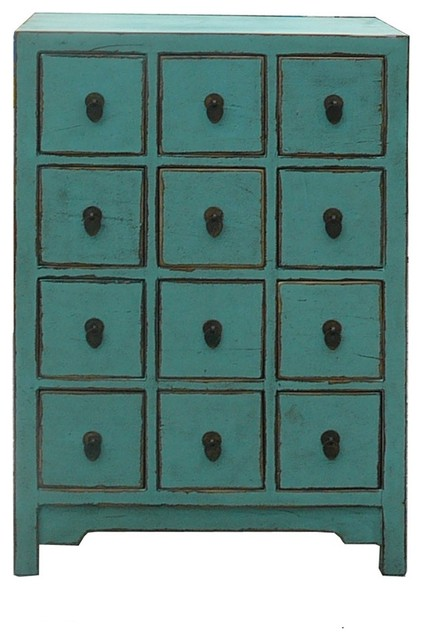 Chinese Pastel Blue 12 Drawers Storage Cabinet - Eclectic - Storage Cabinets - by Golden Lotus ...
