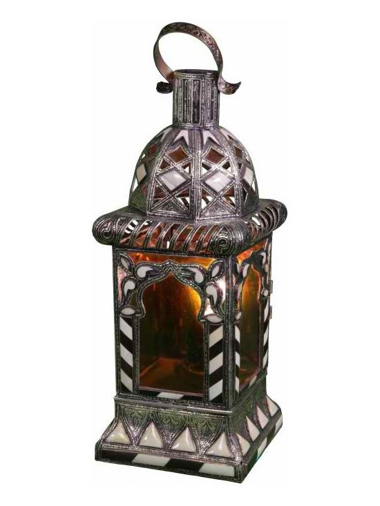 Moroccan Amber Glass Lantern - High quality, hand crafted and stylized Moroccan lanter that requires a great dexterity and precision, using a combination of engraved Berber metal, Iraqi glass and inlaid camel bone Berber designs.