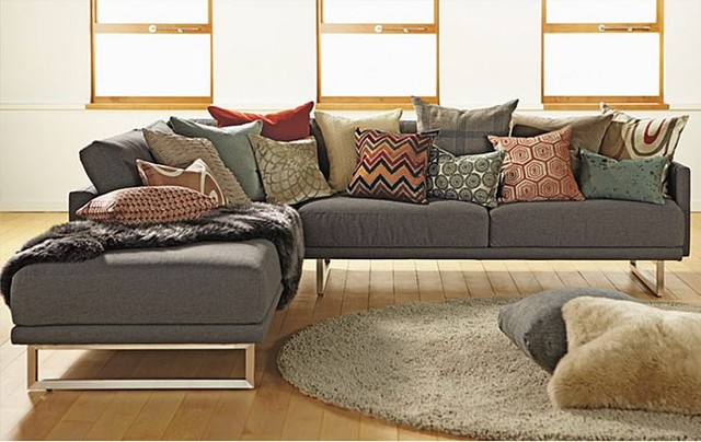 Odin sectional with accent pillows by r b modern for Room and board pillows