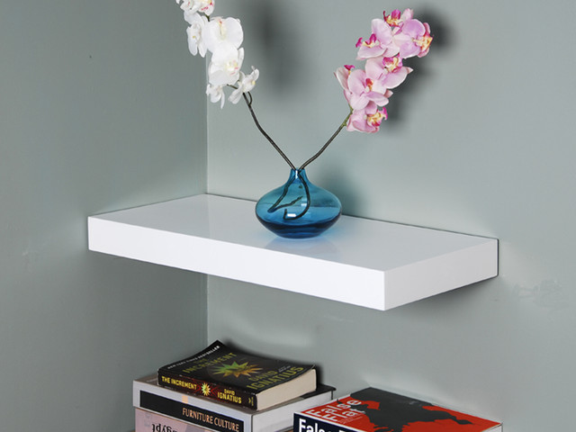 High Gloss White Floating Shelf, 36inch - Traditional - Picture Frames - los angeles - by Justin Hou