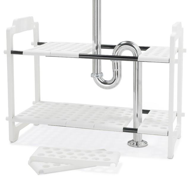 Adjustable Under Sink Cabinet Storage Counter Shelf: Madesmart Expandable Under-Sink Shelf Organizer