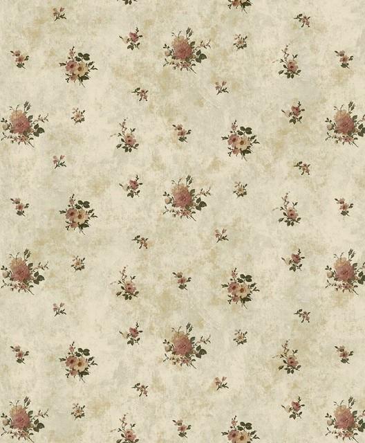 California - In Bloom Wallpaper, Green, Red traditional-wallpaper