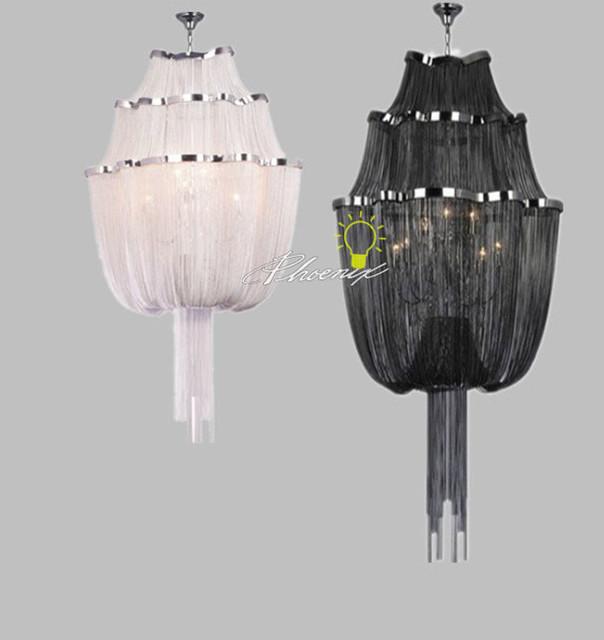 Modern Chandelier Chain: Black/white Chain Chandelier