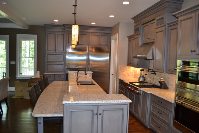 Gray Stained Cabinets, With Black Glaze  richmond  by Elite Kitchen