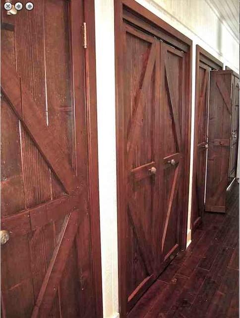 Custom Reclaimed Wood And Mahogany Closet Doors Eclectic
