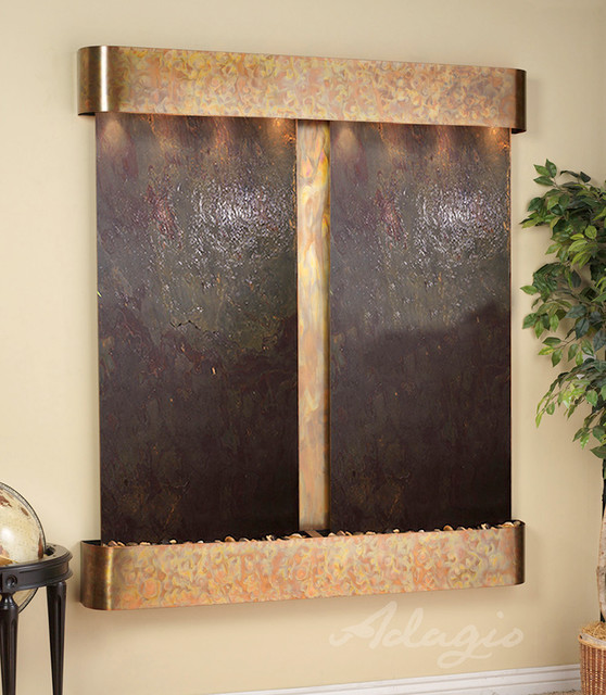 Lightweight Slate Wall Water Features - The Cottonwood Falls w/ LW Red Slate contemporary-indoor-fountains