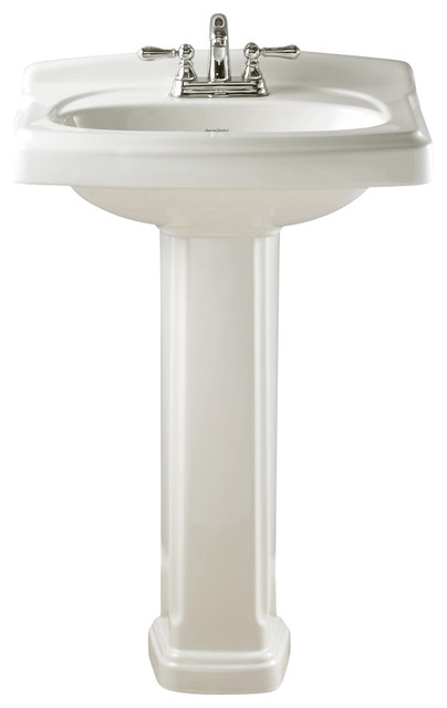 "Townsend Vitreous China Pedestal Bathroom Sink Combo with 4"" Centers in White transitional-bathroom-sinks"