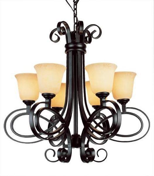 Black Ribbon 6 Light Chandelier modern-chandeliers
