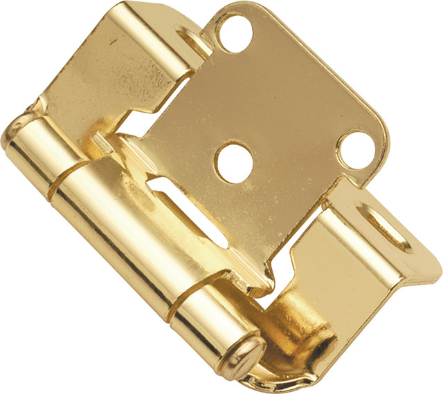 Polished Brass Semi-Concealed Hinge (2-Pack) - Traditional - Hinges - by Simply Knobs And Pulls