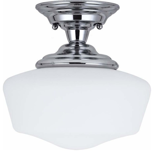 1 light semi flush chrome traditional flush mount