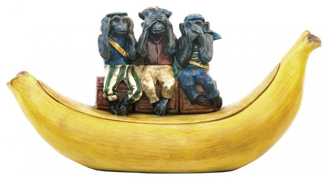 Three Wise Monkeys Dish contemporary-decorative-objects-and-figurines