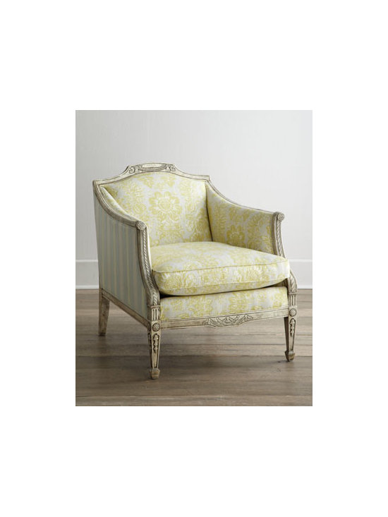 """Key City Furniture - Key City Furniture """"Courtney"""" Chair - With its beautifully carved frame, vintage-inspired upholstery, and down-blend seating, this striking accent chair brings charm as well as extra seating to any room. Frame made of select hardwoods. Hand-painted finish. Inside of chair upholstered in...."""