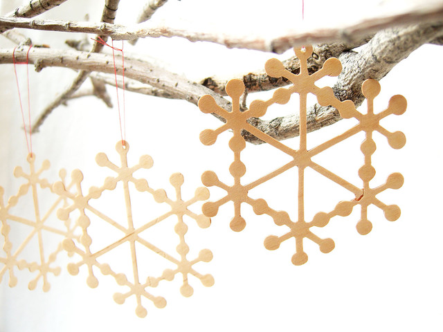 Delicate Wooden Snowflake Christmas Tree Ornament by Quite Alright modern-christmas-ornaments