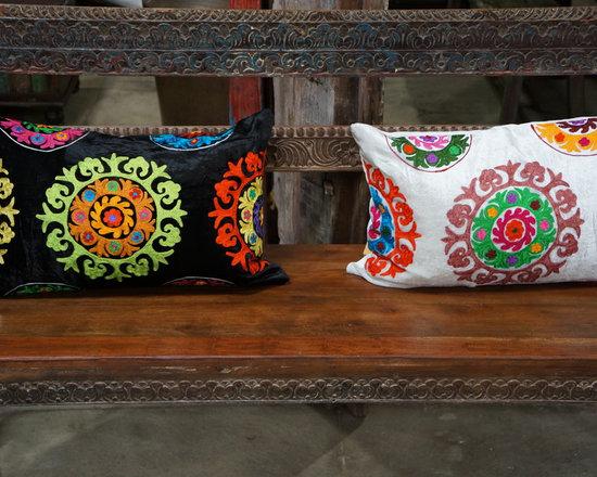 store set-up - Velvet Sujani pillows.