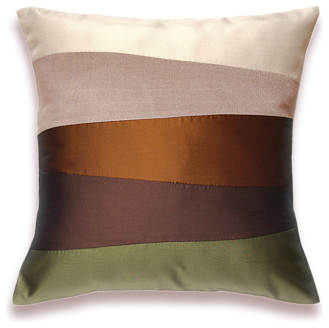 Cream Beige Rust Brown Olive Green Pillow Cover 16 in SIENNA DESIGN