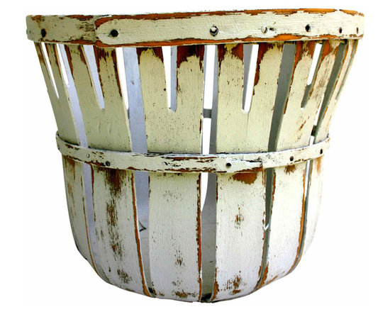 White Produce Basket - Pretty painted bushel basket. Interesting cut out details and nice sturdy base.