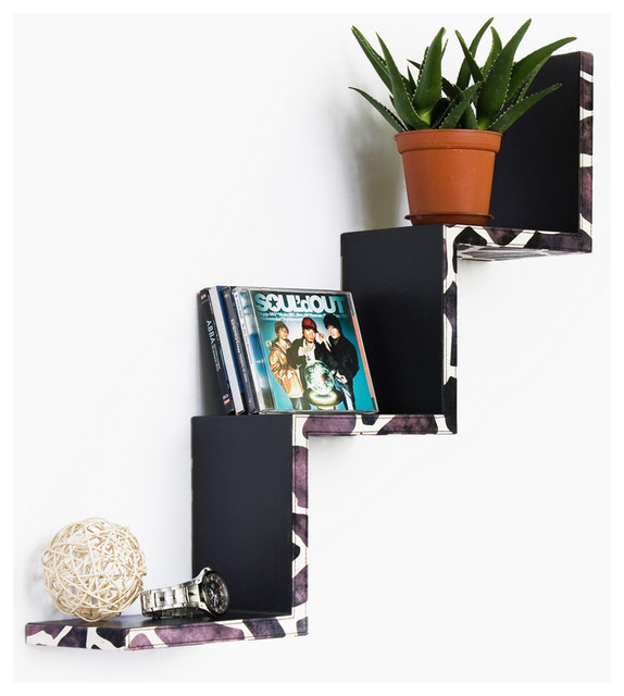 Leopard Purple Ladder-Shaped Leather Shelf / Bookshelf / Floating Shelf contemporary-display-and-wall-shelves