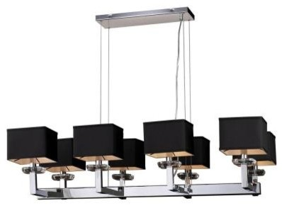 PLC Lighting Chandelier. 8 Light Chandelier Polished Chrome Finish Black Fabric contemporary-chandeliers