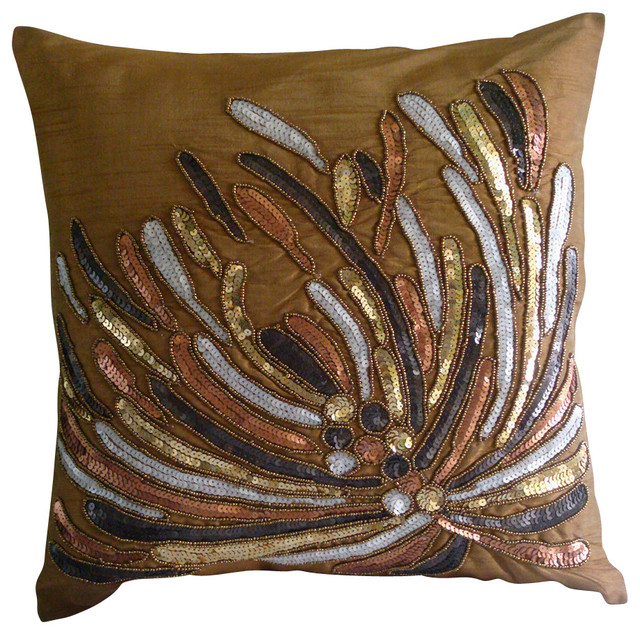 Cracker Decorative Gold Silk Throw Pillow Cover, 26x26 - Tropical - Bed Pillows - by The HomeCentric
