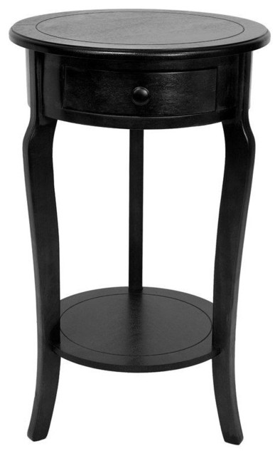 26 classic round end table w drawer black modern
