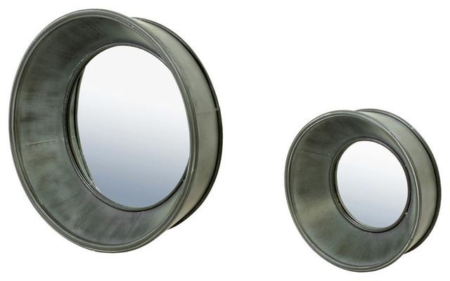 Bassett Mirror Porthole Wall Mirror - Set/2 - Zinc contemporary-wall-mirrors