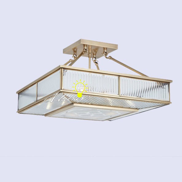 pure Copper Square Crystal Recessed Lighting contemporary-flush-mount-ceiling-lighting