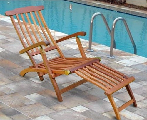 Natural Eucalyptus Wood Vertical Slat Folding Chaise Lounge