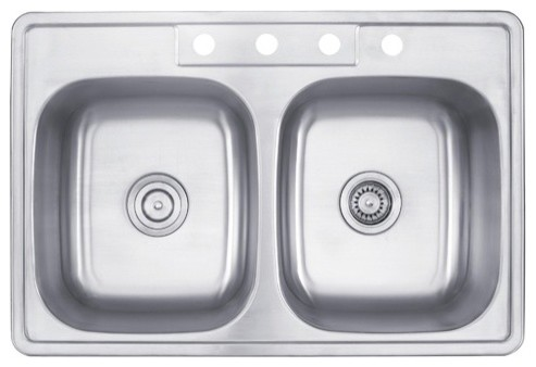 33 inch Topmount 50/50 Double Bowl  Stainless Steel Kitchen Sink modern-bath-products
